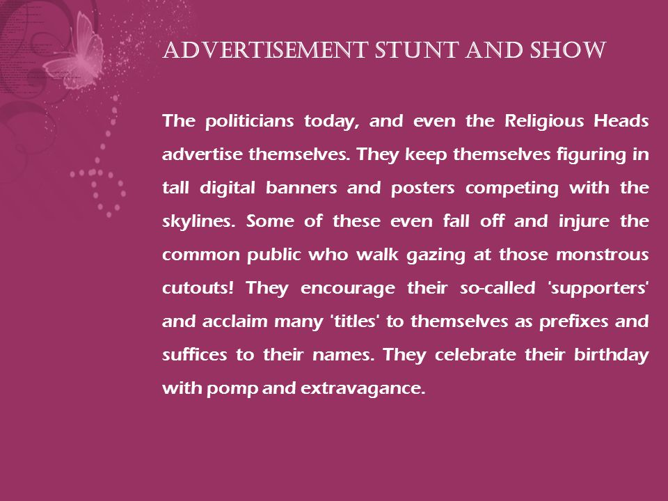 Advertisement Stunt and Show