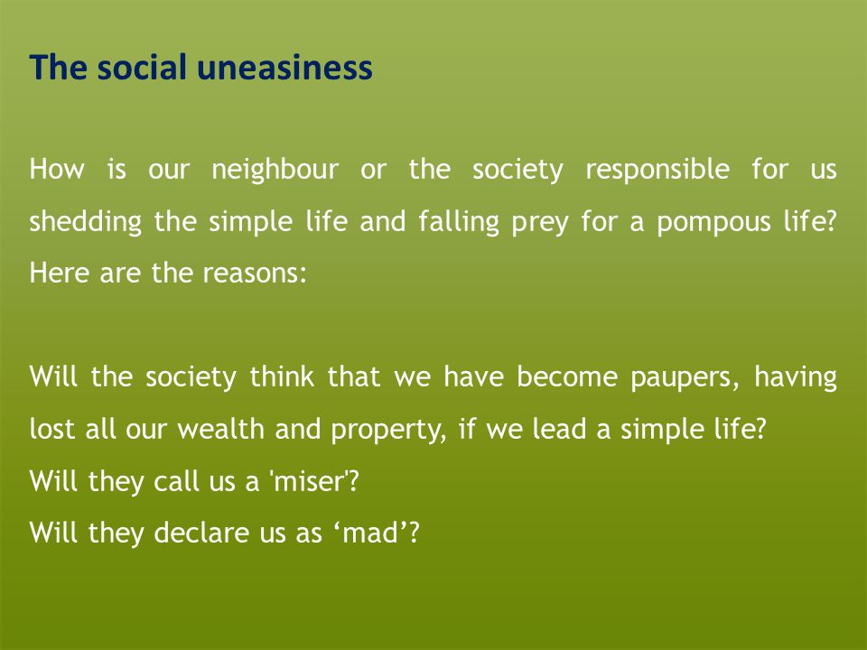The social uneasiness
