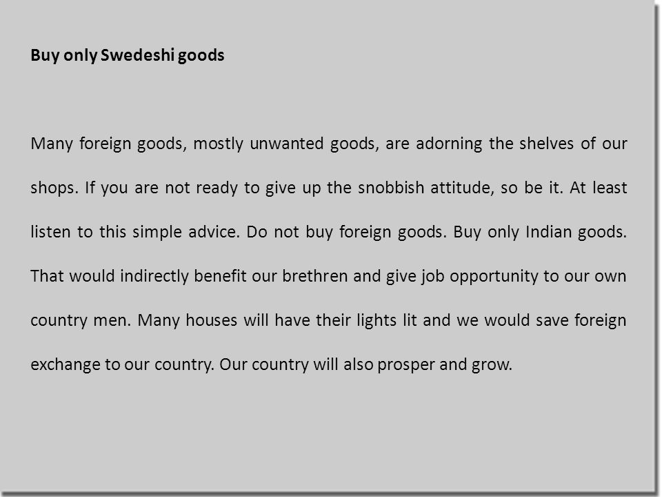 Buy only Swedeshi goods