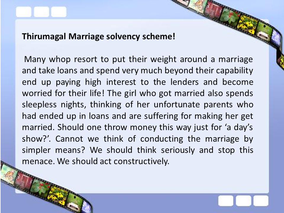 Thirumagal Marriage solvency scheme!