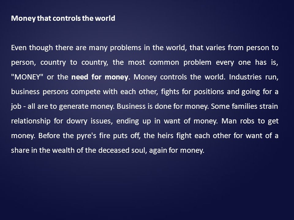Money that controls the world