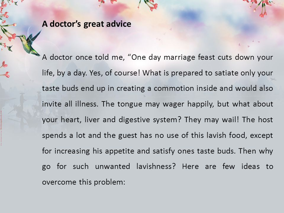 A doctor's great advice
