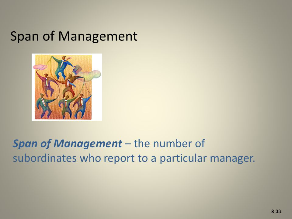 Span of Management Span of Management – the number of subordinates who report to a particular manager.