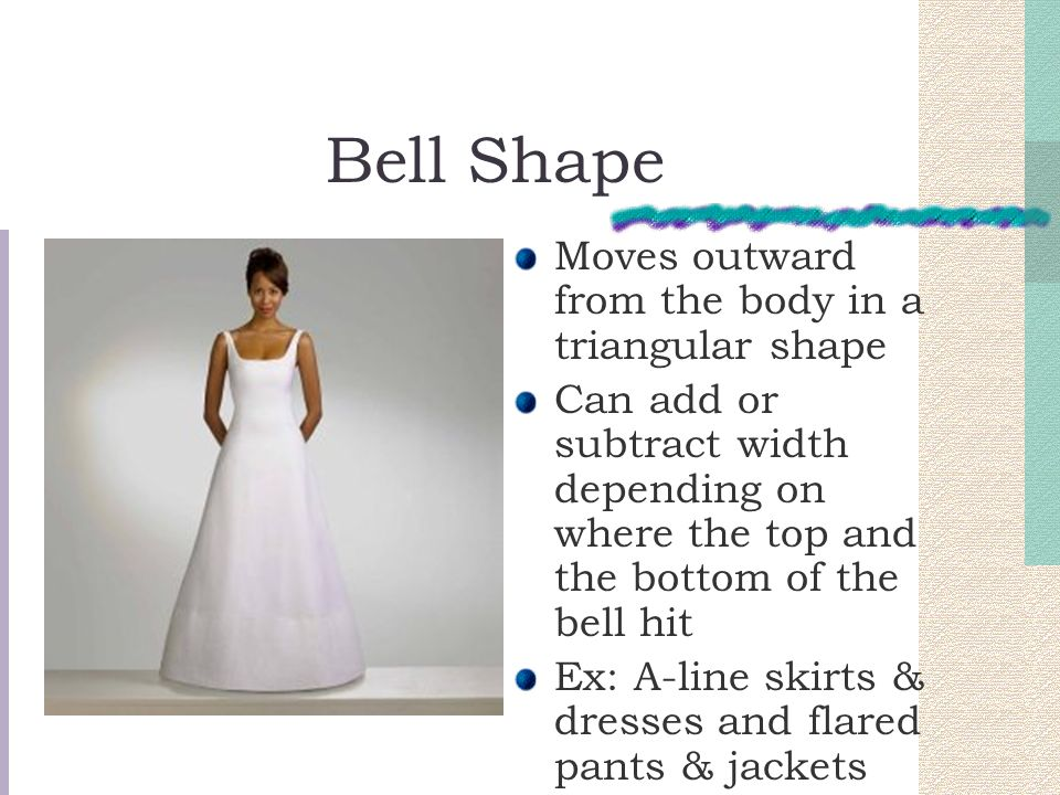 Bell Shape Moves outward from the body in a triangular shape