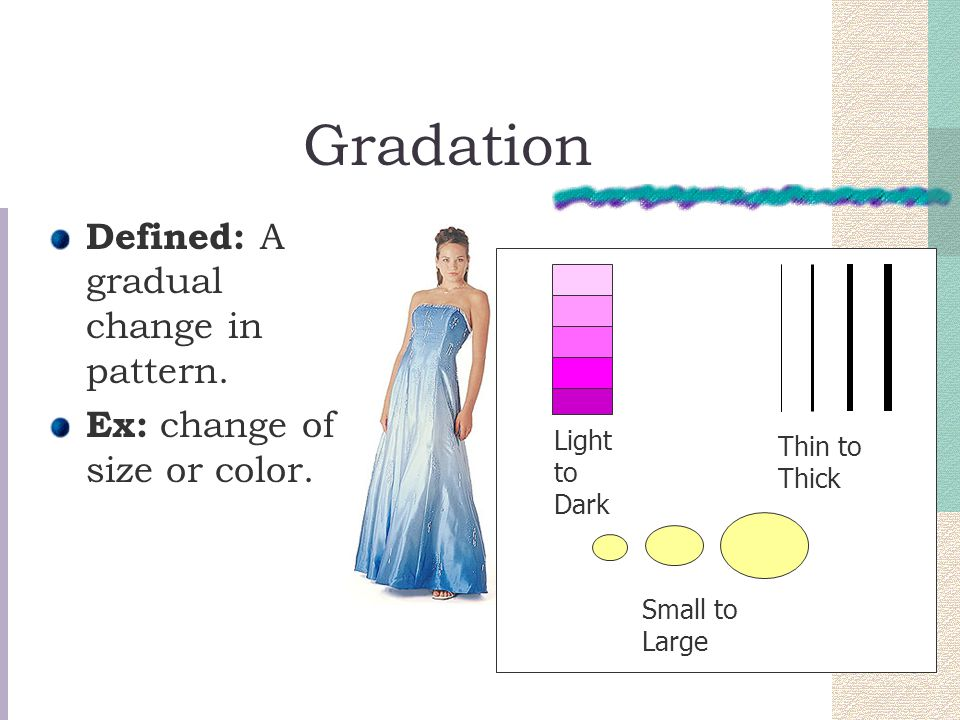 Gradation Defined: A gradual change in pattern.