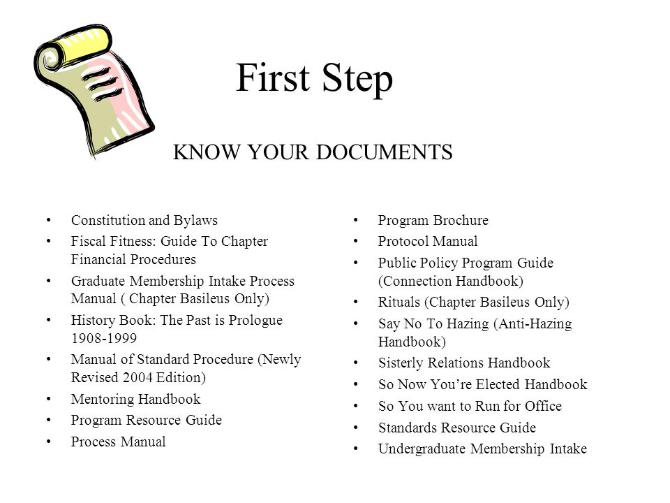 First Step KNOW YOUR DOCUMENTS Constitution and Bylaws