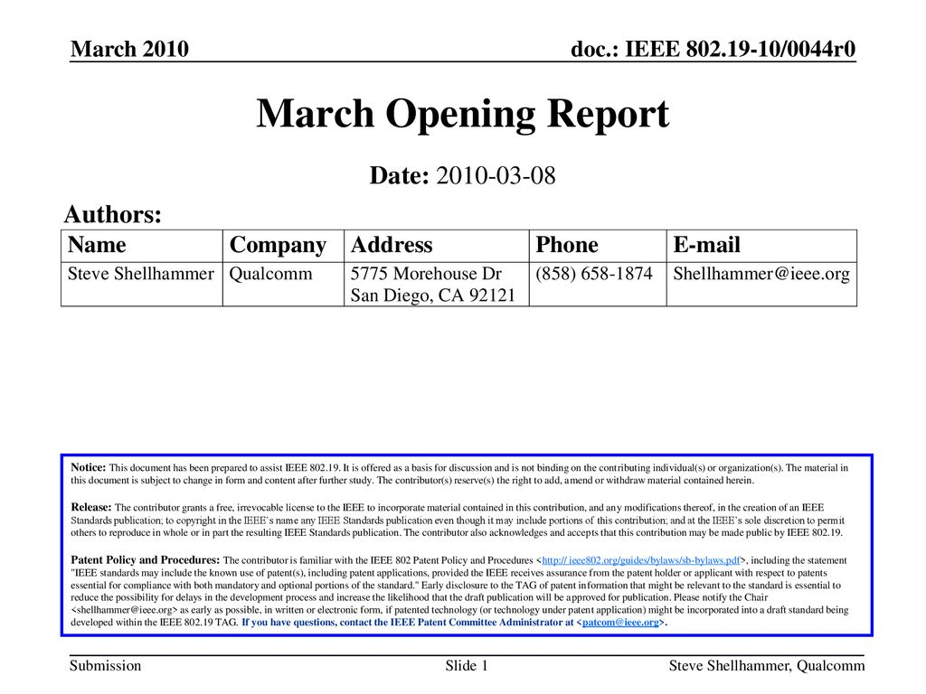 March Opening Report Date: Authors: March 2010