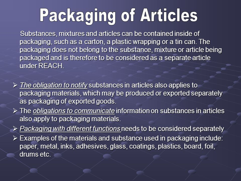 Packaging of Articles