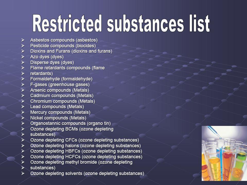 Restricted substances list