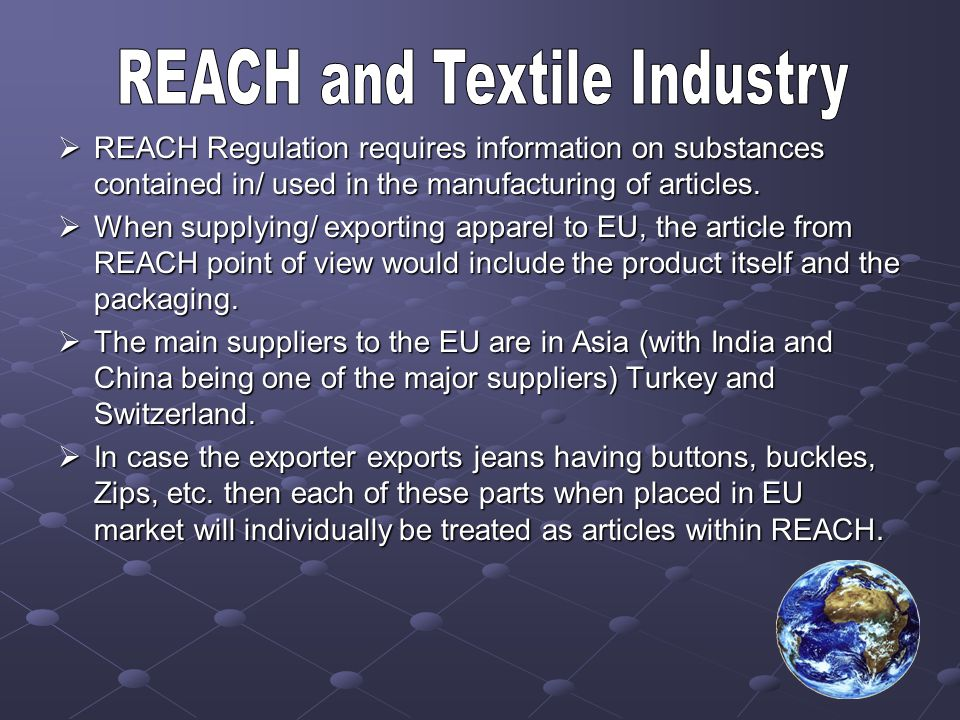 REACH and Textile Industry