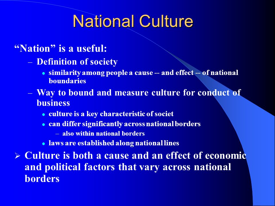 National Culture Nation is a useful: