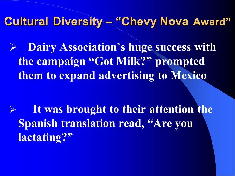 Cultural Diversity – Chevy Nova Award