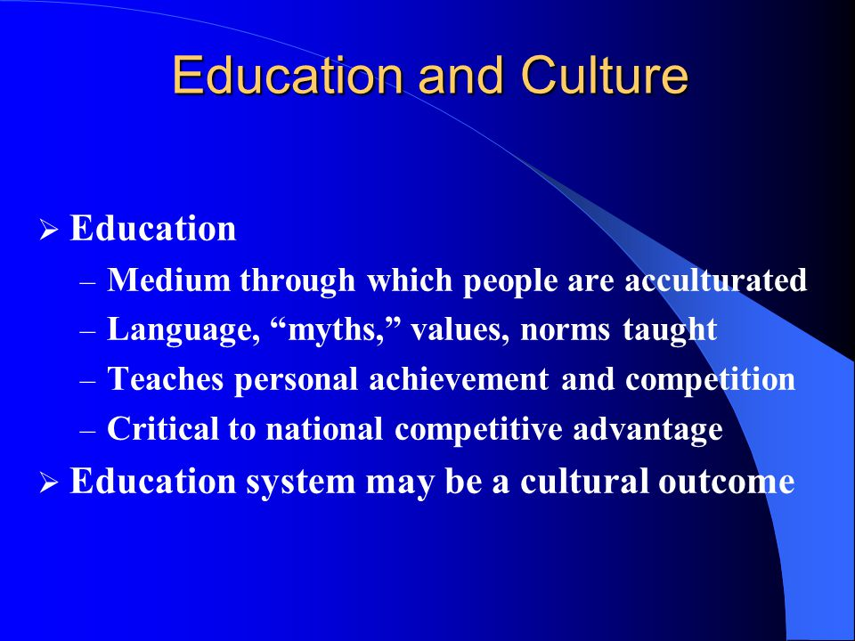 Education and Culture Education