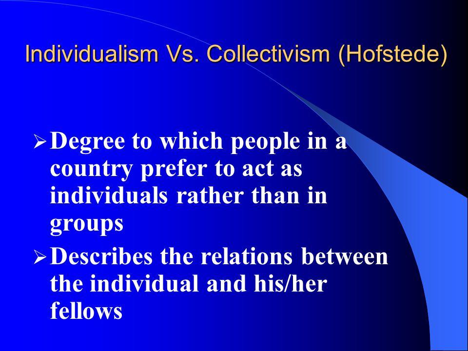 Individualism Vs. Collectivism (Hofstede)