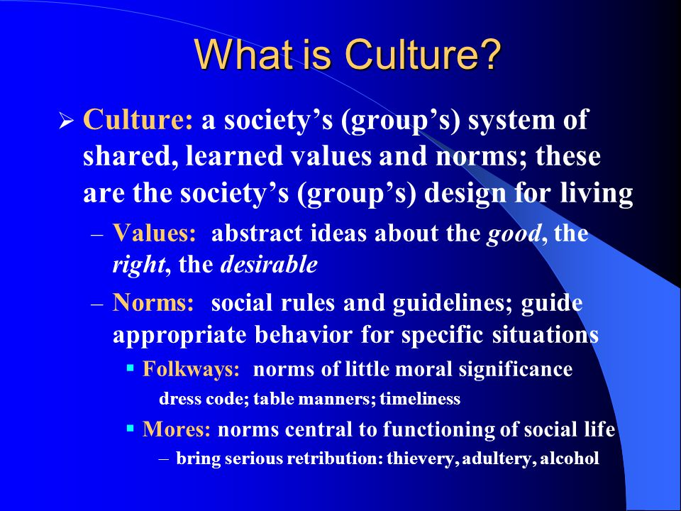 What is Culture Culture: a society's (group's) system of shared, learned values and norms; these are the society's (group's) design for living.