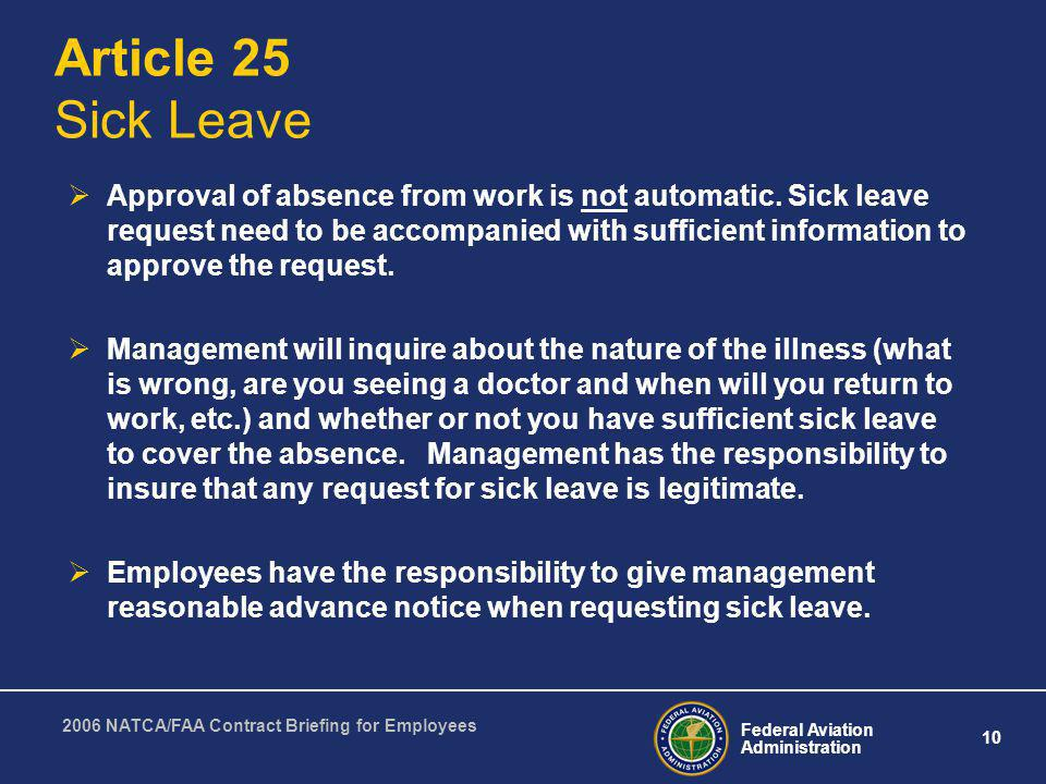 Article 25 Sick Leave