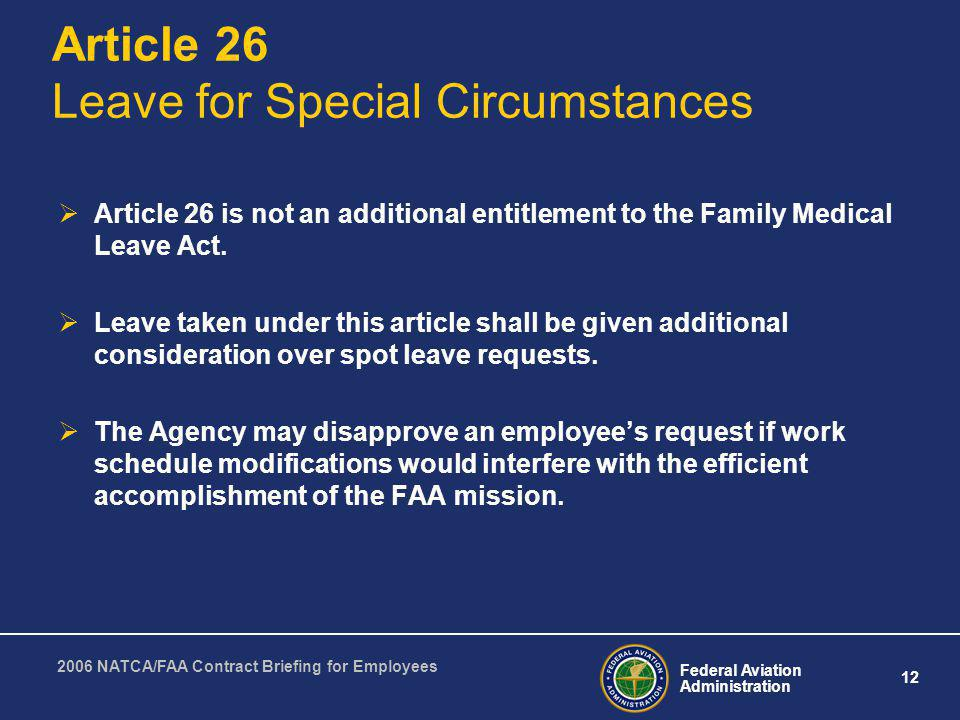 Article 26 Leave for Special Circumstances
