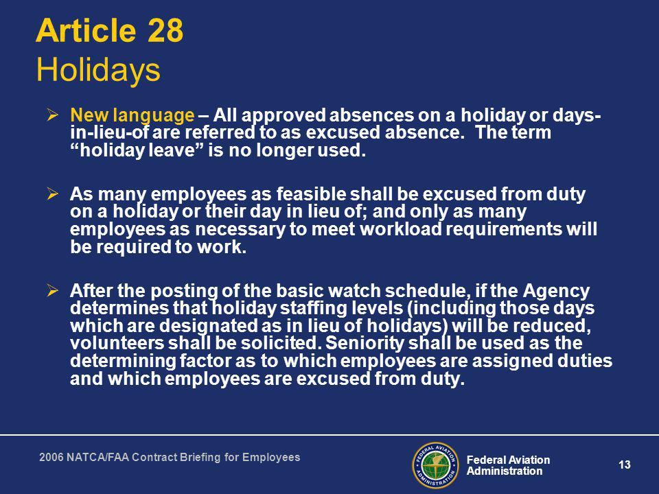 Article 28 Holidays