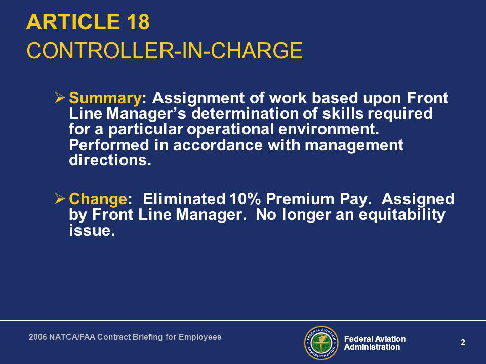 ARTICLE 18 CONTROLLER-IN-CHARGE