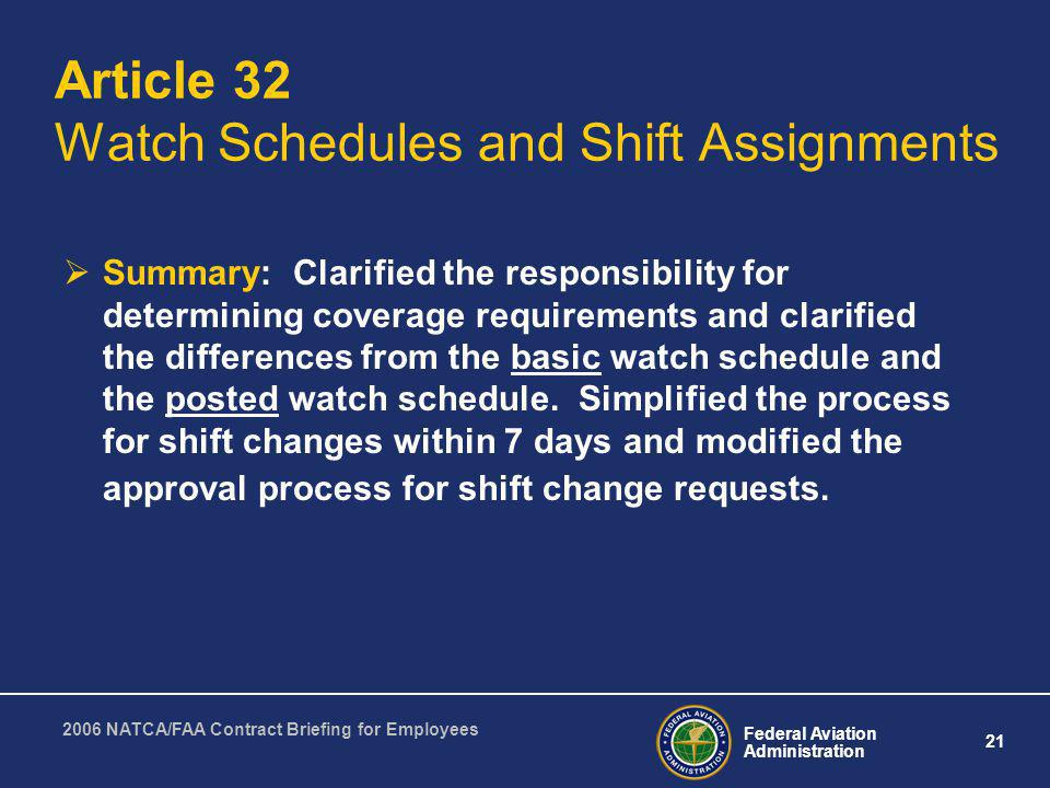 Article 32 Watch Schedules and Shift Assignments