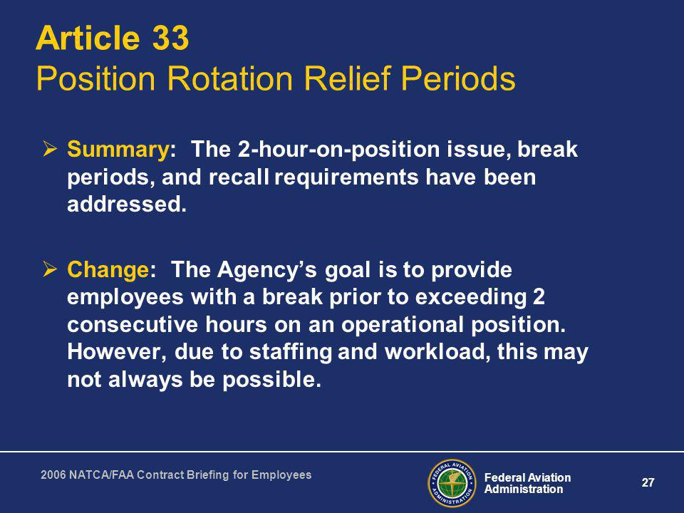 Article 33 Position Rotation Relief Periods