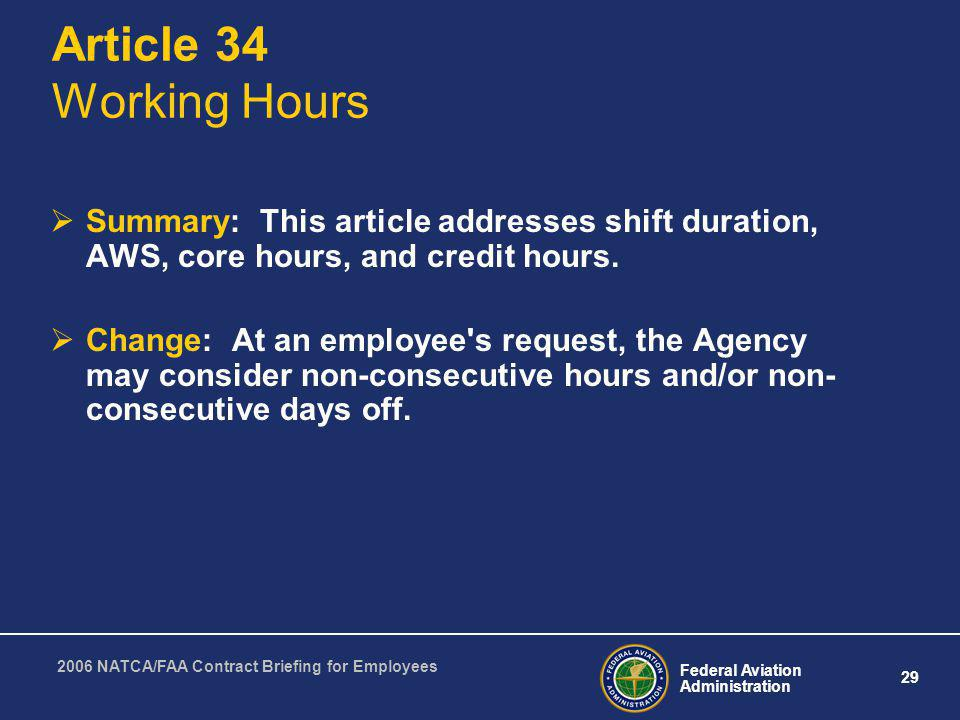 Article 34 Working Hours Summary: This article addresses shift duration, AWS, core hours, and credit hours.
