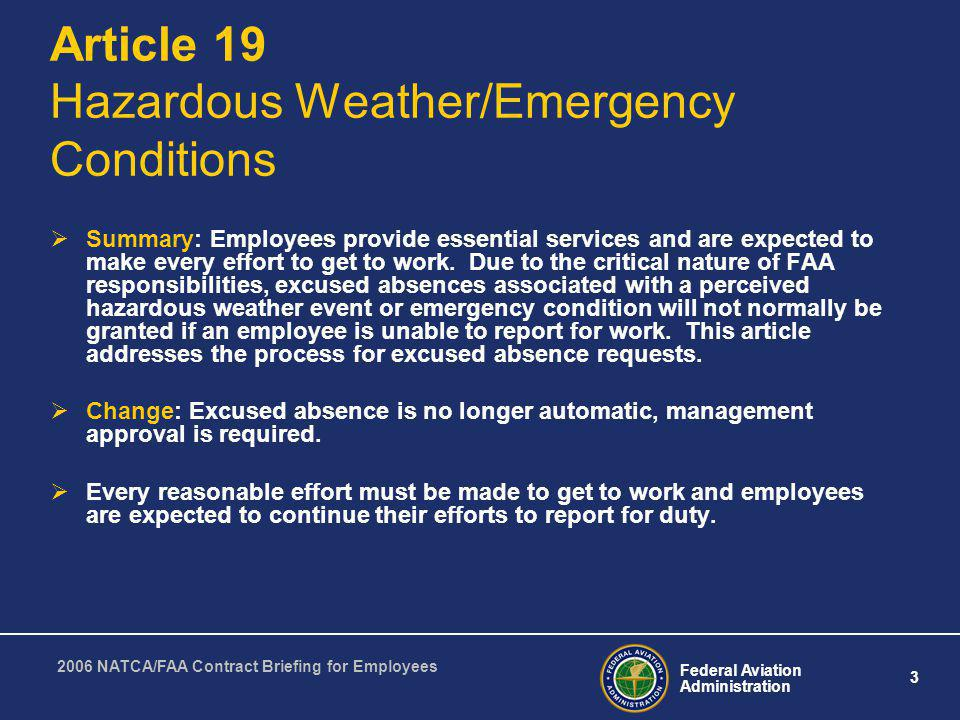 Article 19 Hazardous Weather/Emergency Conditions