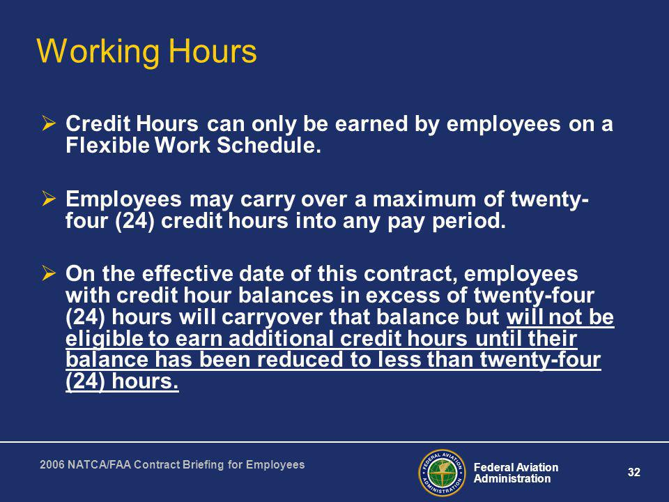 Working Hours Credit Hours can only be earned by employees on a Flexible Work Schedule.