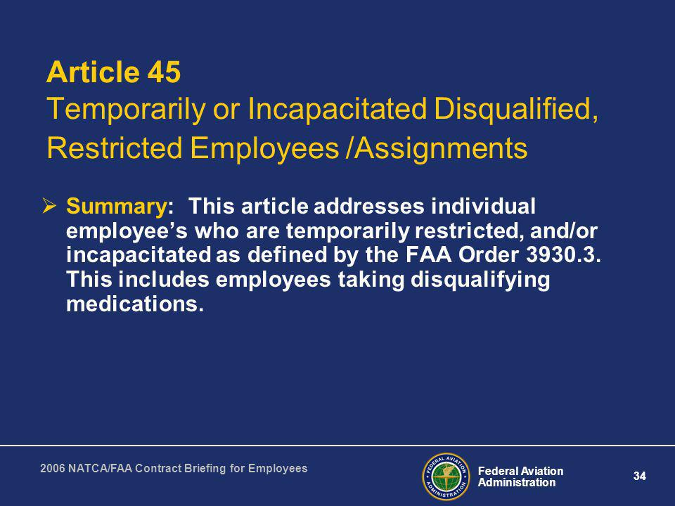 Article 45 Temporarily or Incapacitated Disqualified, Restricted Employees /Assignments