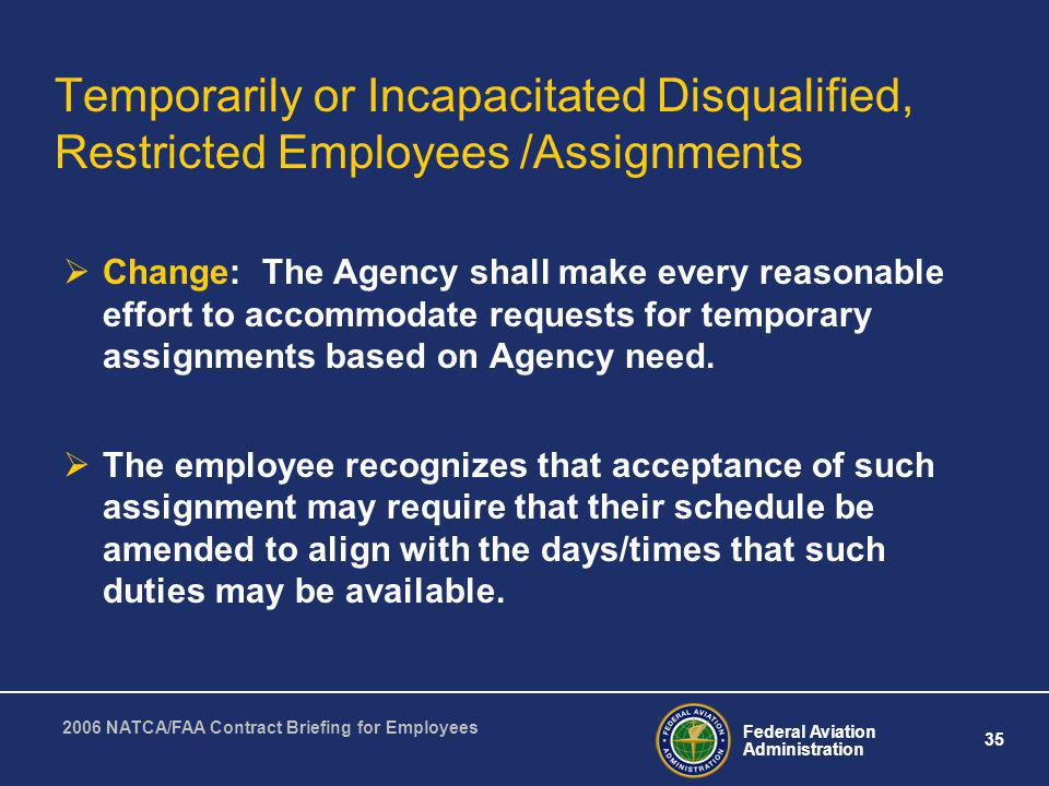 Temporarily or Incapacitated Disqualified, Restricted Employees /Assignments