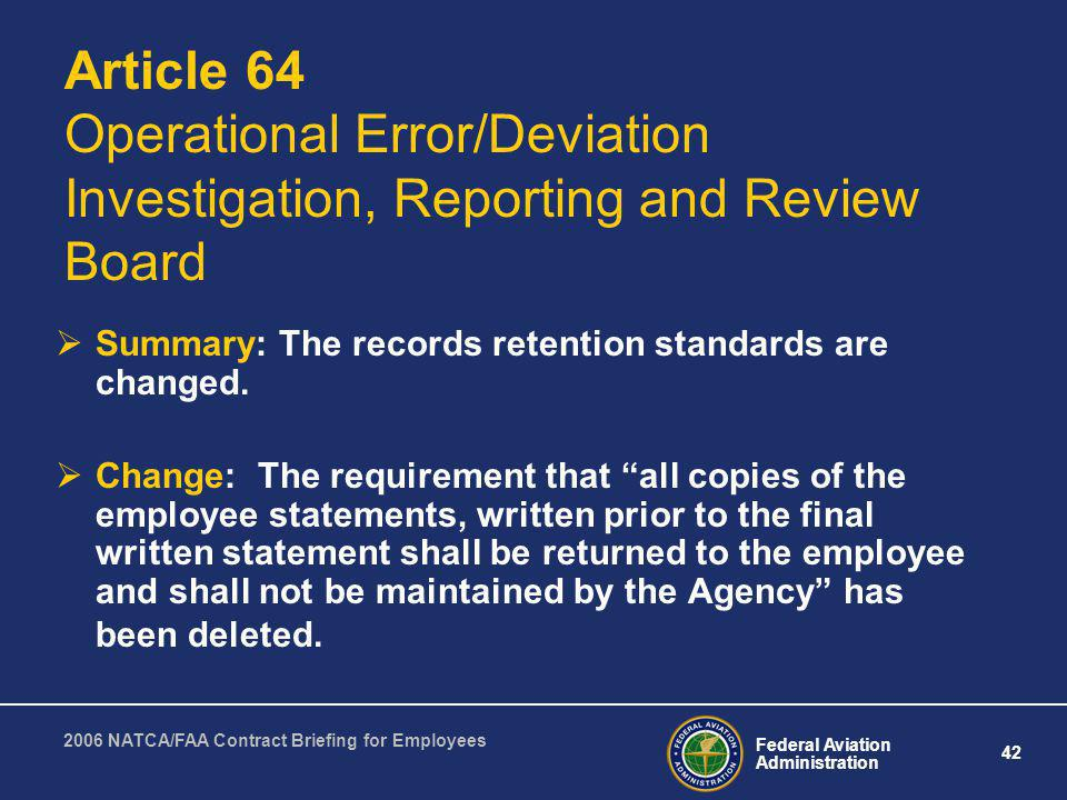Article 64 Operational Error/Deviation Investigation, Reporting and Review Board