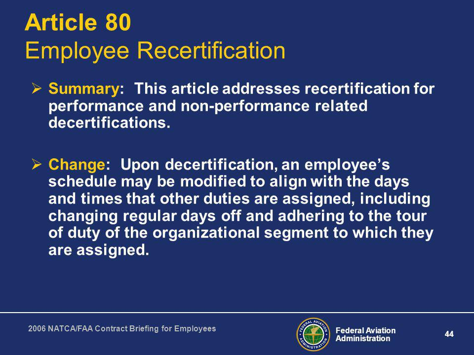 Article 80 Employee Recertification