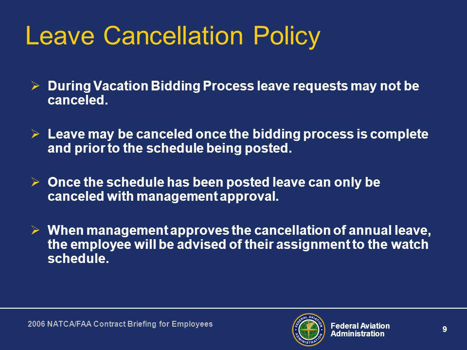 Leave Cancellation Policy