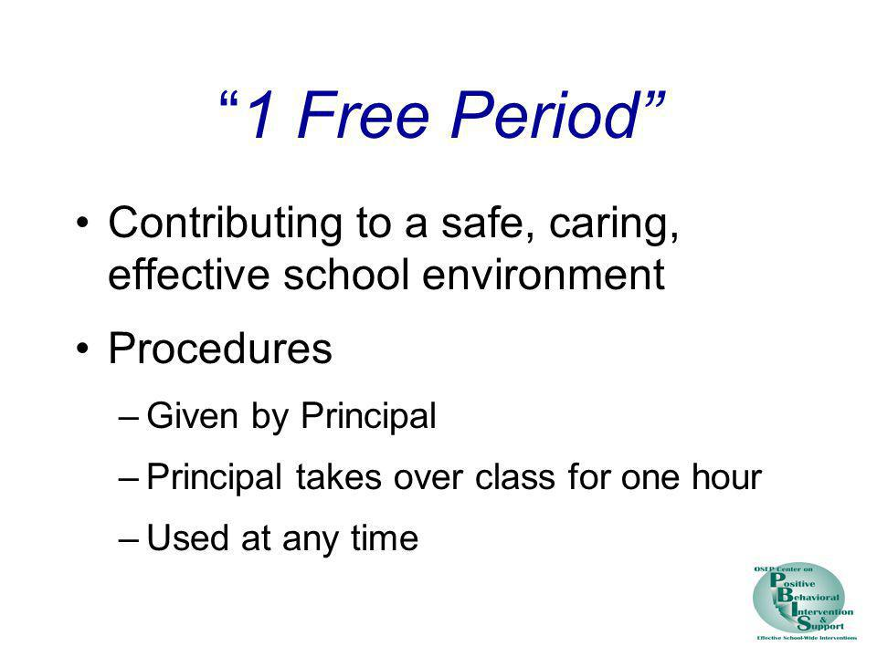 1 Free Period Contributing to a safe, caring, effective school environment. Procedures. Given by Principal.