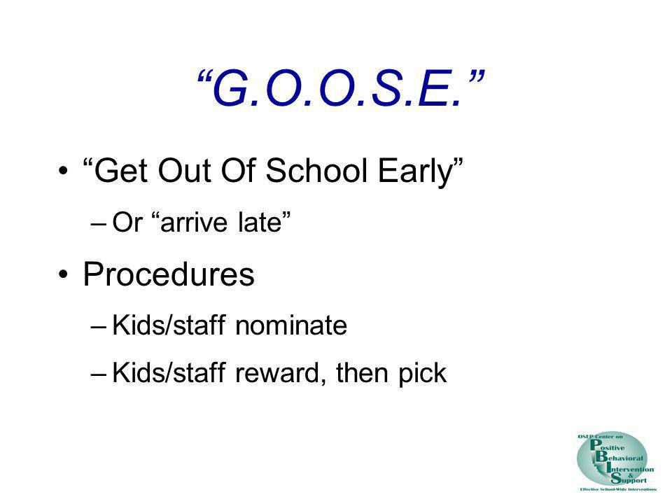 G.O.O.S.E. Get Out Of School Early Procedures Or arrive late