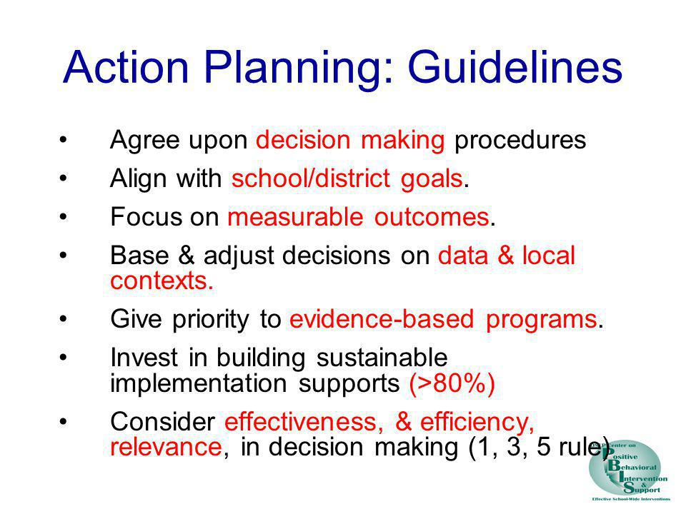 Action Planning: Guidelines