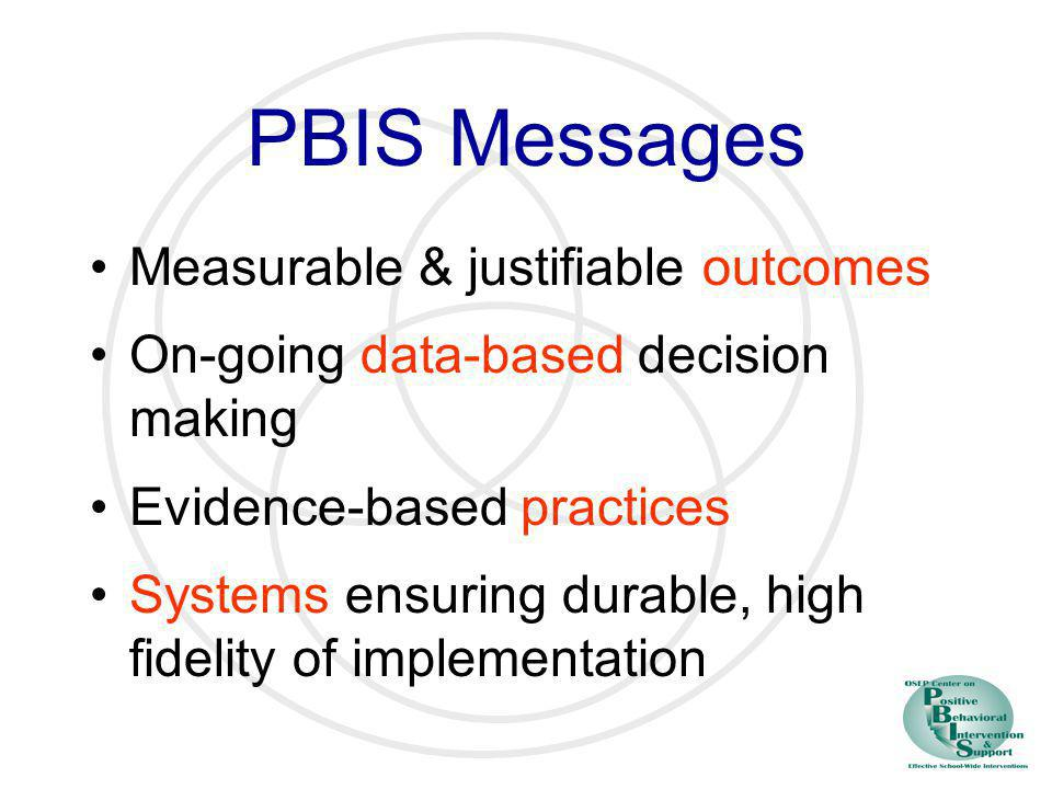 PBIS Messages Measurable & justifiable outcomes