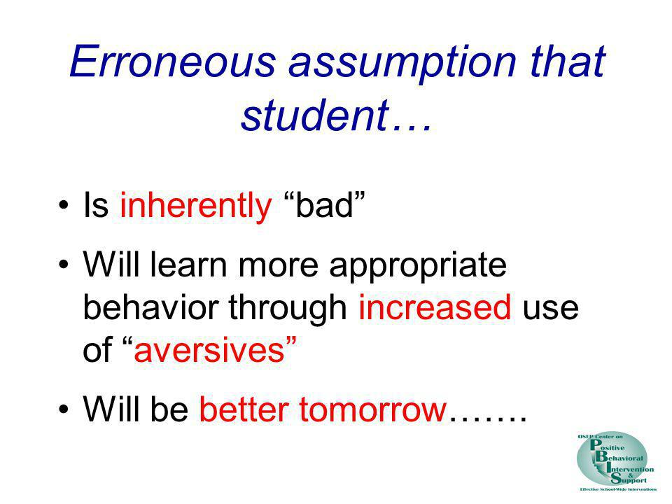 Erroneous assumption that student…