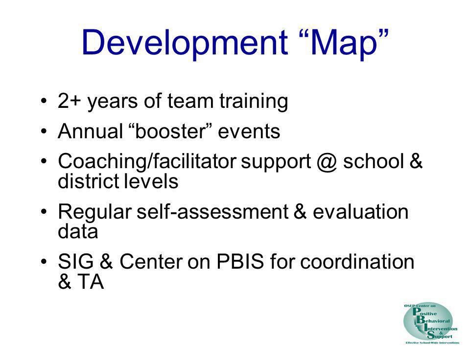 Development Map 2+ years of team training Annual booster events
