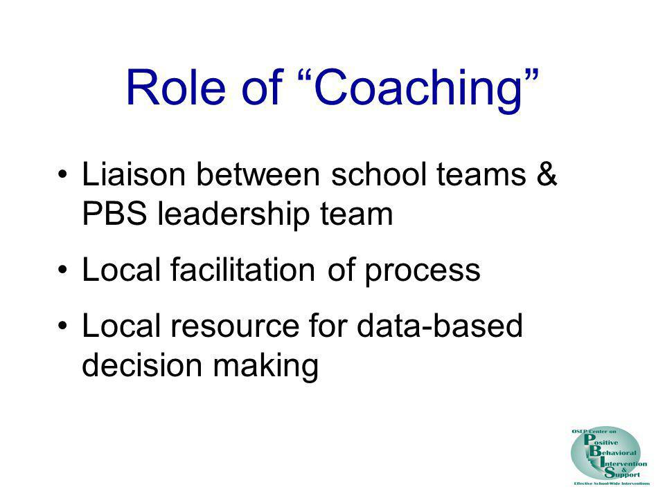 Role of Coaching Liaison between school teams & PBS leadership team