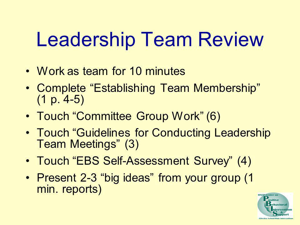 Leadership Team Review