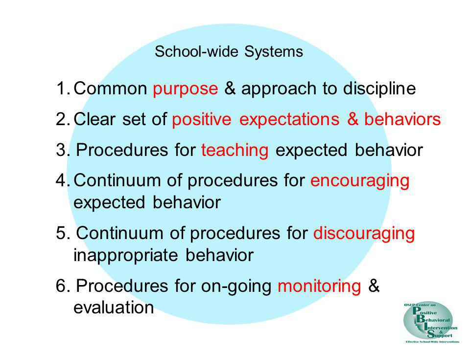 1. Common purpose & approach to discipline
