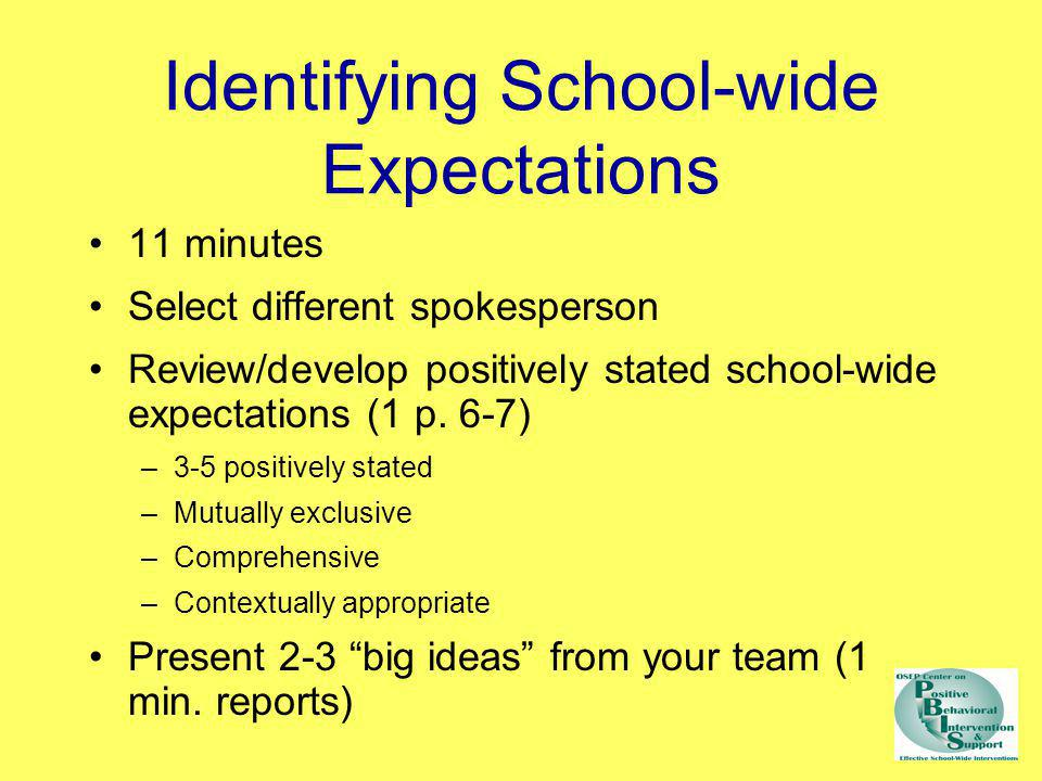 Identifying School-wide Expectations