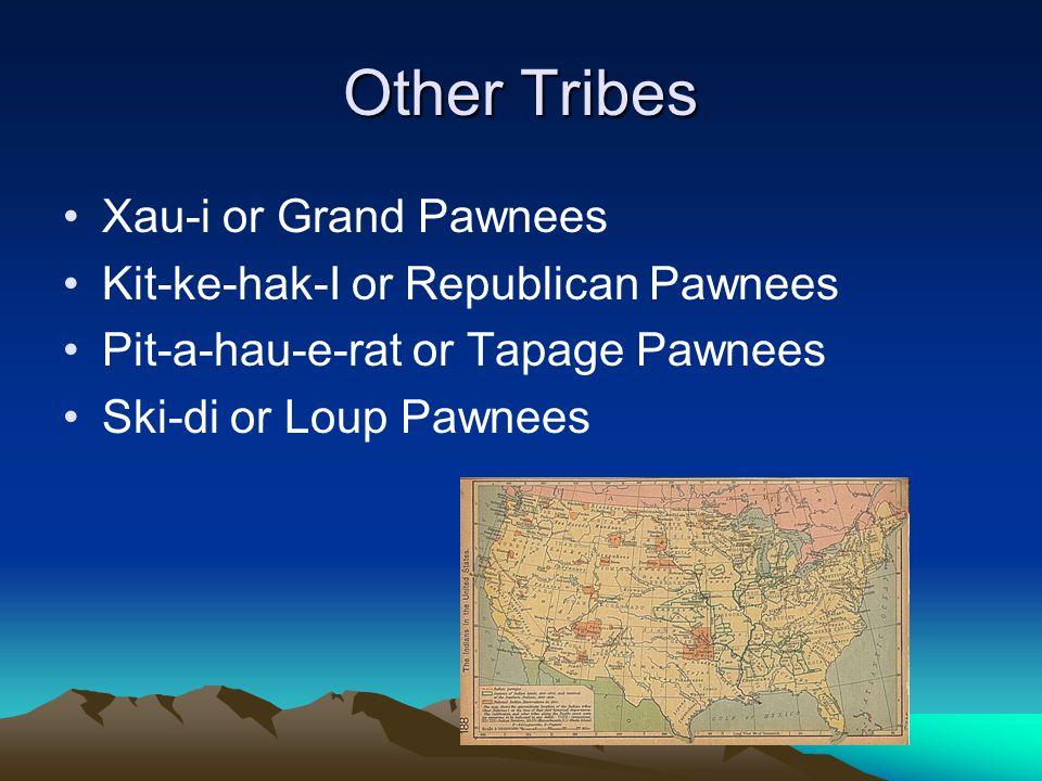 Other Tribes Xau-i or Grand Pawnees Kit-ke-hak-I or Republican Pawnees