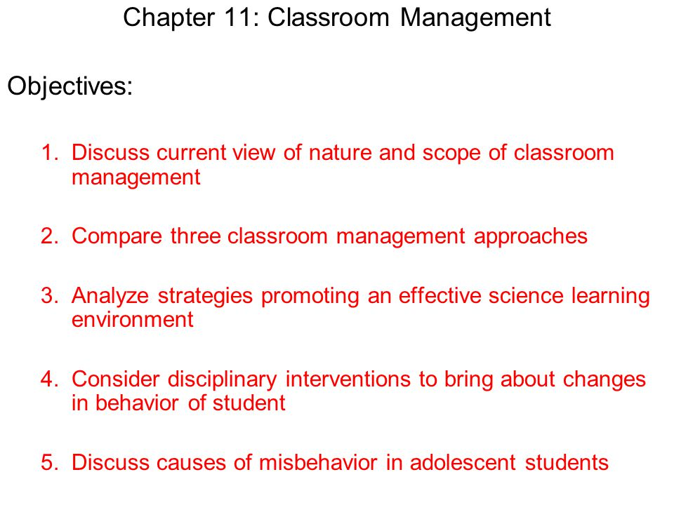 Chapter 11: Classroom Management