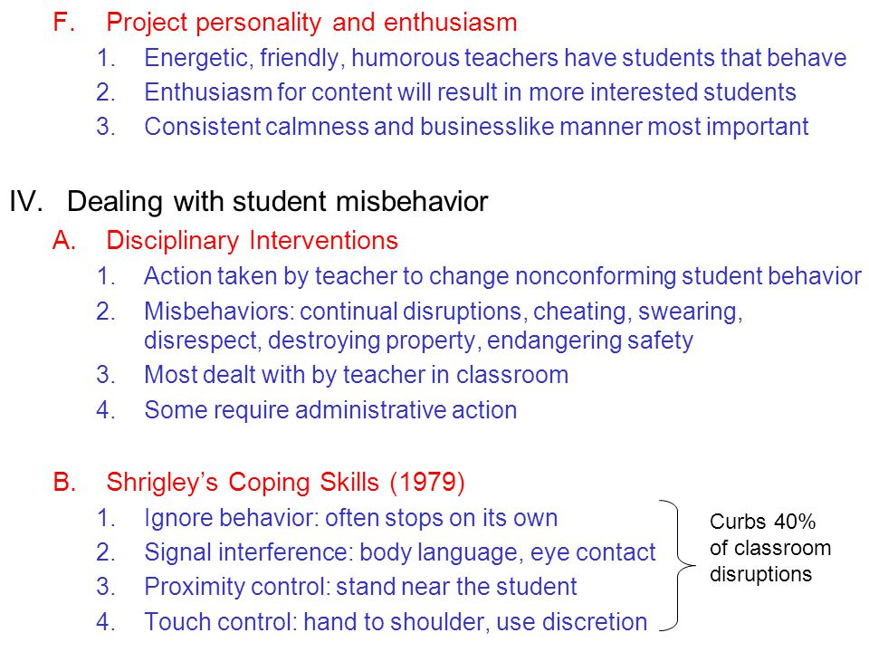 Dealing with student misbehavior