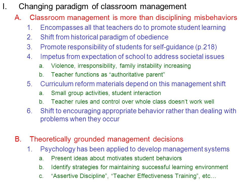 Changing paradigm of classroom management