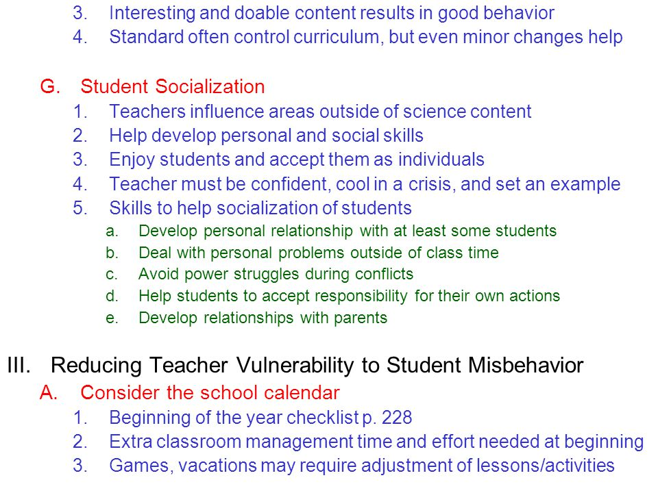 Reducing Teacher Vulnerability to Student Misbehavior