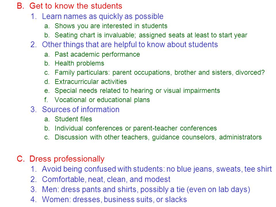 Get to know the students