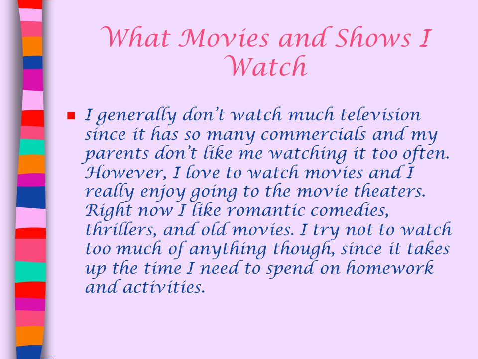 What Movies and Shows I Watch